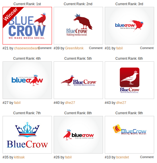 Crowd sourced logos for Bluecrow